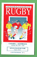 #Mm. Canada V Australia Rugby Union Program 9th Octoberber 1993