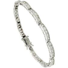 Sterling Silver 9 Carat 5-Stone Channel Set CZ Tennis Bracelet