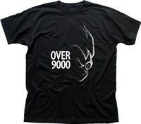 Over 9000 Dragon Ball Z Goku Anime Manga Fire black t-shirt 9615