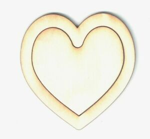 """Lot 50 Double Wooden Hearts 1/8"""" Birch Unfinished laser cut Ship from USA NEW"""