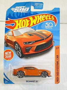 New Hot Wheels 2018 Camaro SS 102nd INDY 500 Festival Car Orange on Card