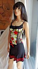 So Sexy WHEELS & DOLLBABY garden roses top and skirt 2pc pinup outfit sz 1 2 XS