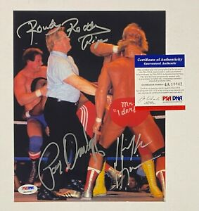 Hulk Hogan Roddy Piper & Paul Orndorff Signed 8x10 WWE WWF Photo PSA/DNA COA