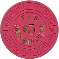 T. J.'S Dirty Bird Casino Winnemucca, Nevada NV $5 Pink Large Key Casino Chip