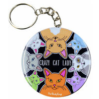 Crazy Cat Lady Keychain Funny Rainbow Cat Key Ring Gift Collectible Accessories