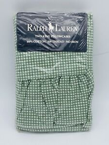 Ralph Lauren Small Gingham THYME Green White Checked 2 Ruffled King Pillowcases