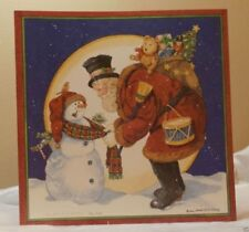 Holiday Christmas Seasonal Card Snowman & Santa Greeting Gift Post Vintage