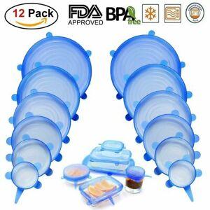 12pcs/Set Stretch Silicone Food Bowl Cover Storage Wraps Seals Reusable Lids Eco