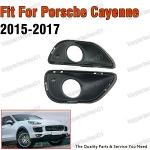 Pair Replacement Fog Light Lamp Hole Cover Bezels For Porsche Cayenne 2015-2017