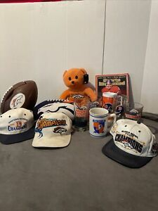 Wow!!!!Denver bronco man cave cups mugs plush hats and phone sports illustrated