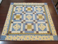 """Hand Made Quilted Table Runner/ Topper /Mat ~24"""" x 24"""" ~Gold & blue"""