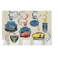 CARS 3 BIRTHDAY PARTY SUPPLIES FOIL SWIRL HANGING DECORATIONS 12 PIECES