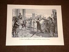 Storia di Roma Tribuno Capitone impreca contro Crasso Incisione di L. Pogliaghi