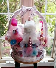 Baby Girl Unicorn Gift Basket Diaper Cake Matching  Outfit ,Headband And Shoes.
