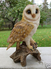 "7.25"" BARN OWL FIGURINE ON TREE STUMP  HOOTER STATUE WISE OLD OWL Resin New"