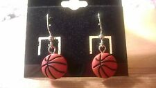 Basketball dangling or posts, silver or gold earrings.