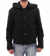 NWT $880 GALLIANO Black Hooded Wool Blend Jacket Coat Giacca s. IT44 / US34 / XS