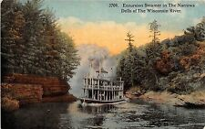 Wisconsin postcard Excursion Steamer The Narrows, Dells of the Wisconsin River