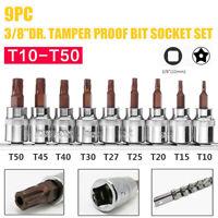 T10-T50 Torx Star Sockets Bit Set 9Pcs Screwdriver Tools 3/8'' Drive on Rail