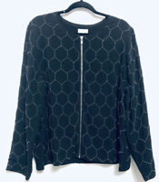 Chicos Womens Size 16 Black Zip Up Bomber Jacket Coat Beaded Geometric Boho