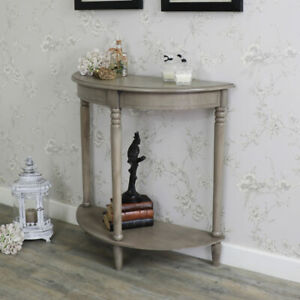 Taupe wood half moon console table vintage rustic living room hallway furniture