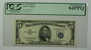 1953 $5 Bill Silver Certificate Note Currency PCGS 64PPQ Fr. 1655