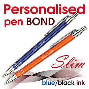 Promotional personalised SLIM pen *BOND* blue/ black ink * school leavers