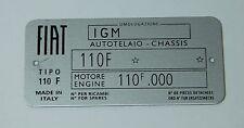 Classica FIAT 500 F Piastra del Telaio-più alta qualità