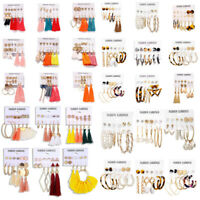 6Pair Set Bohemian Tassel Crystal Pearl Earrings Women Ear Stud Dangle Jewelry B