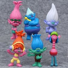 "Trolls Movie (Set Of 6) Large 3-1/4"" - 3-3/4""  Birthday Cake Topper Figurines"