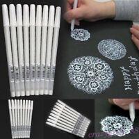 5/10X White Gel Ink Marker Pen Drawing Art Fine Tip Sketching Painting Pens Tool