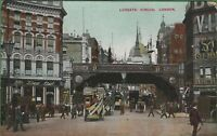 Vintage Antique UK London Postcard Ludgate Circus Street View