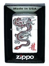 New Zippo Lighter Red Dragon High Polish Chrome MADE IN USA