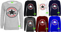 A55 NEW WOMEN'S LADIES CONVERSE ALL STAR PRINT JUMPER SWEATSHIRT SIZE 8 10 12 14