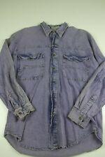 Vintage Sierra Pacific Denim Button Down Shirt Size S Purple Long Sleeve vtg 90s