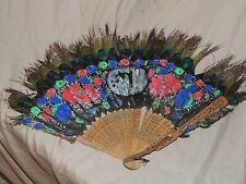 Vintage Oriental Feather Painted Fan