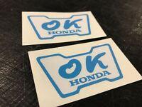 2PCS OK Honda Rare Window Sticker Civic 1980s JDM 1970s Vinyl Decal