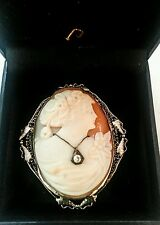 Vintage Art Deco Cameo Brooch Pendant with Diamond in Box