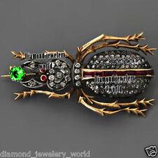 3.38cts Rose Cut Diamond Gemstone Studded Silver Vintage Beetle Jewelry Brooch