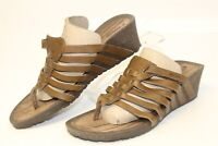 Teva Cabrillo 3 Dark Earth Strappy Leather Wedge Womens 8.5 39.5 Sandals Shoes