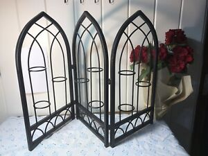 "Gothic Design Black Metal Folding Candle Holder Fireplace Decor 19"" X 10.5"""