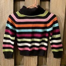 Gymboree Girls Size 7 Brown Pink Green Striped Retro Sweater Turtleneck Cotton