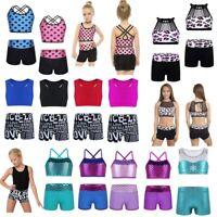 Girls Kids Ballet Gym Tank Dance Outfit Vest Tops+Bottoms Shorts Jazz Dance Wear
