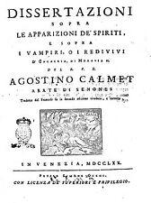 Dissertazioni sopra le apparizioni de spiriti e sopra i vampiri redivivi