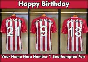 A5 Personalised Southampton Football Dressing Room Greeting Birthday Card PID061