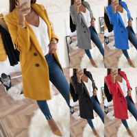Women Winter Warm Woolen Trench Coat Ladies Jacket Overcoat Outwear S-3XL