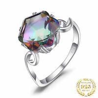 Damen Ring Echt Silber 925 4 Karat Regenbogen Topas Edelstein Damenring Geschenk