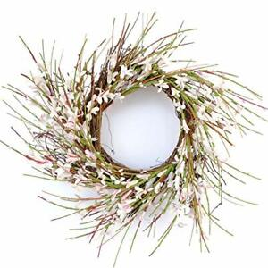 12 Inches Floral Wreath for Front Door Artificial Decoration Wall Decor, White !
