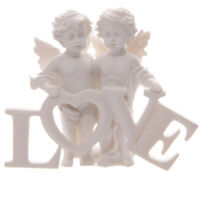 Heavenly Cherubs Pair Holding Love Letters Ornament Ivory Finish Gift Cupid