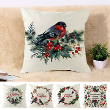 Cotton Linen Flower Garland Sofa Pillow Case Cushion Cover Merry Christmas CA